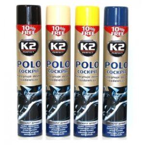 Полироль торпеды аэрозоль K2 POLO COCKIT ваниль 750 ml